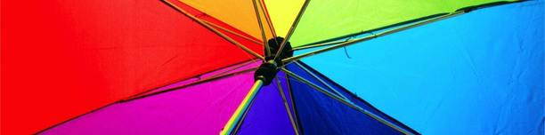 The inside of a colourful umbrella